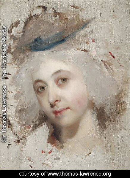 Sir Thomas Lawrence - Portrait head of a lady, unfinished